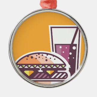Fast Food Cheeseburger and Drink Metal Ornament