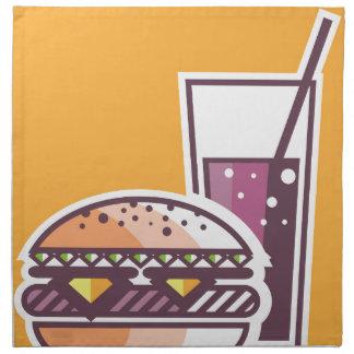 Fast Food Cheeseburger and Drink Napkin