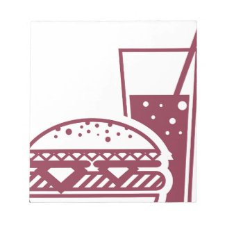 Fast Food Cheeseburger and Drink Notepad