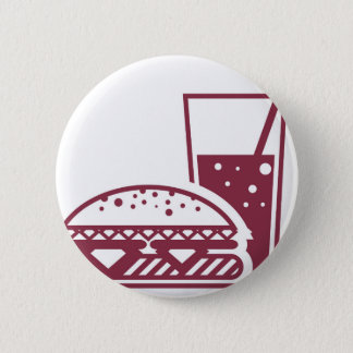 Fast Food Cheeseburger and Drink Pinback Button
