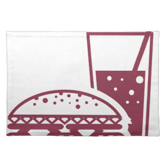Fast Food Cheeseburger and Drink Placemat