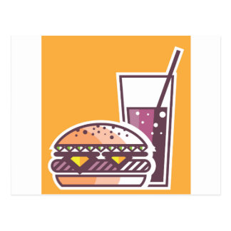 Fast Food Cheeseburger and Drink Postcard