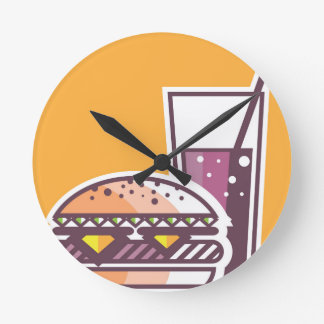 Fast Food Cheeseburger and Drink Round Clock
