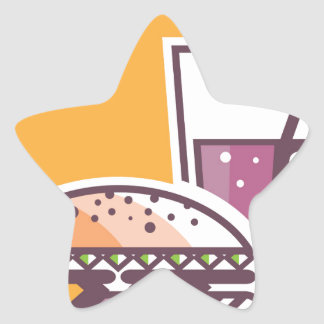 Fast Food Cheeseburger and Drink Star Sticker