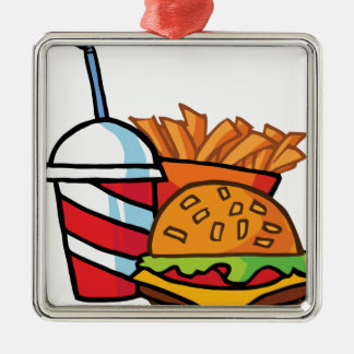 Fast Food Cheeseburger Square Metal Christmas Ornament