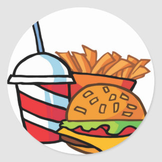 Fast Food Cheeseburger Round Stickers