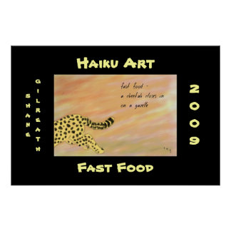Fast Food Cheetah Haiku Art Print