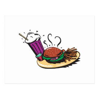 fast food diner meal postcard