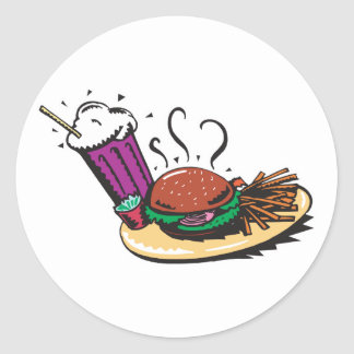 fast food diner meal stickers