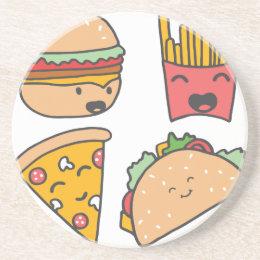 fast food friends drink coaster