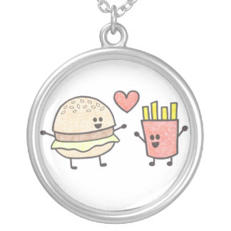 Fast Food Friends Round Pendant Necklace