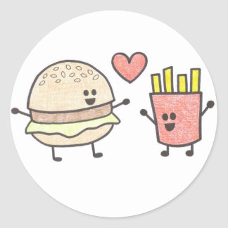 Fast Food Friends Round Stickers
