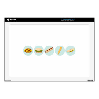 """Fast Food Icon Drawings 17"""" Laptop Skins"""