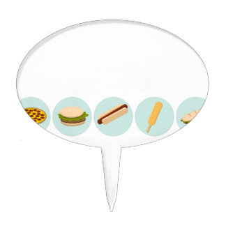 Fast Food Icon Drawings Cake Topper