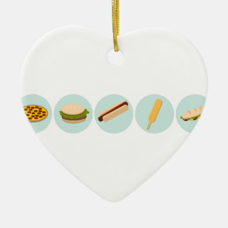 Fast Food Icon Drawings Ceramic Ornament