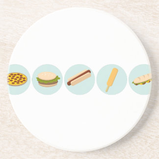Fast Food Icon Drawings Drink Coaster