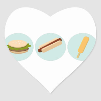 Fast Food Icon Drawings Heart Sticker