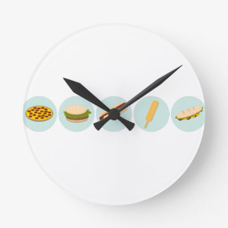 Fast Food Icon Drawings Round Clock