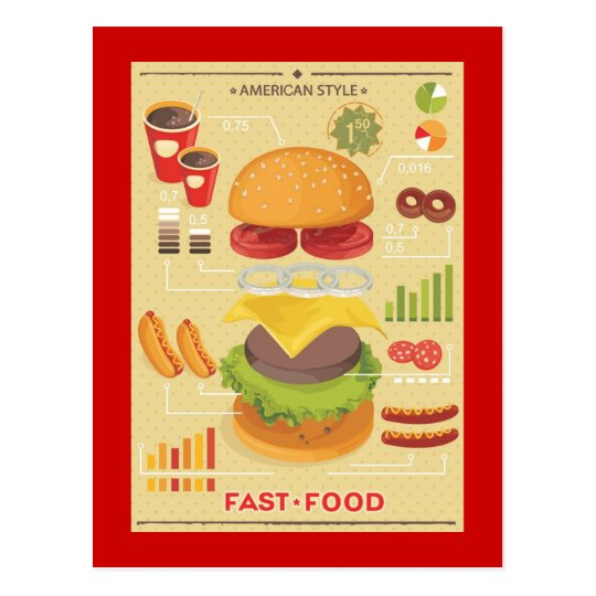 Fast food info graphic postcard