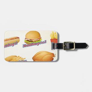 Fast food menu luggage tags
