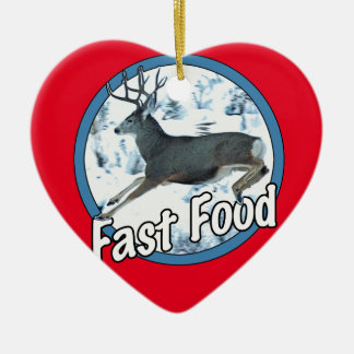 Fast Food Mule Deer Ceramic Ornament