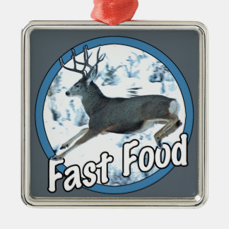 Fast Food Mule Deer Metal Ornament