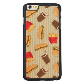 Fast Food Pattern 2 Carved Maple iPhone 6 Plus Case