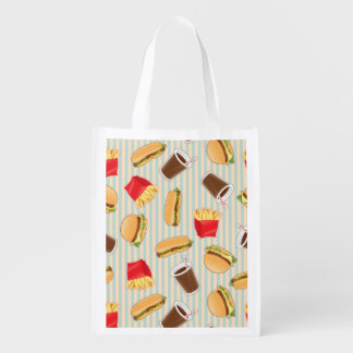 Fast Food Pattern 2 Grocery Bags