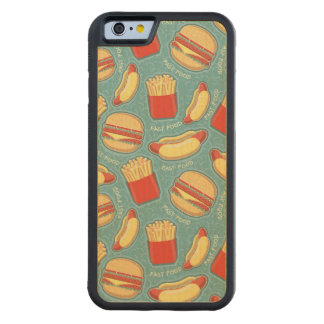 Fast Food Pattern 3 Carved Maple iPhone 6 Bumper Case