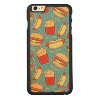 Fast Food Pattern 3 Carved Maple iPhone 6 Plus Case