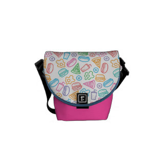 Fast food pattern courier bag