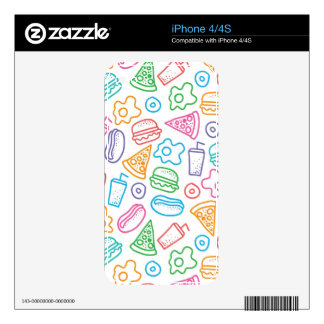 Fast food pattern decal for iPhone 4