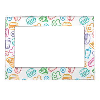 Fast food pattern magnetic photo frame