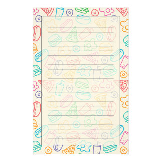 Fast food pattern personalized stationery