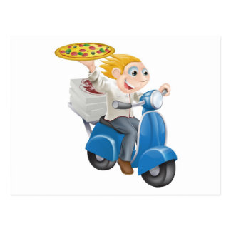 Fast food pizza delivery postcard