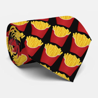 Fast food, potato chips with black background neck tie