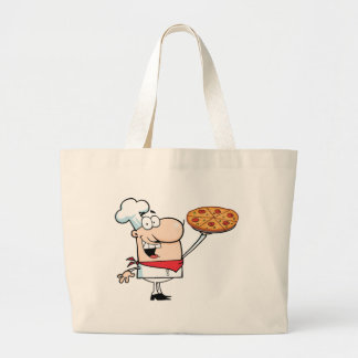 Fast Food Proud Chef Holds Up Pizza Bags