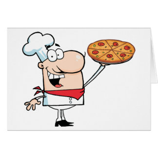 Fast Food Proud Chef Holds Up Pizza Card