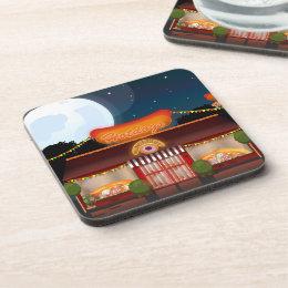 Fast Food Restaurant Cartoon Beverage Coaster