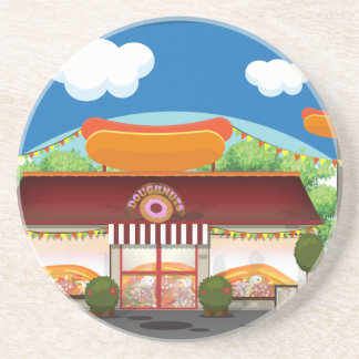 Fast Food Restaurant Cartoon Coaster