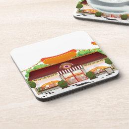 Fast Food Restaurant Cartoon Drink Coaster