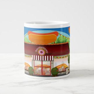 Fast Food Restaurant Cartoon Large Coffee Mug