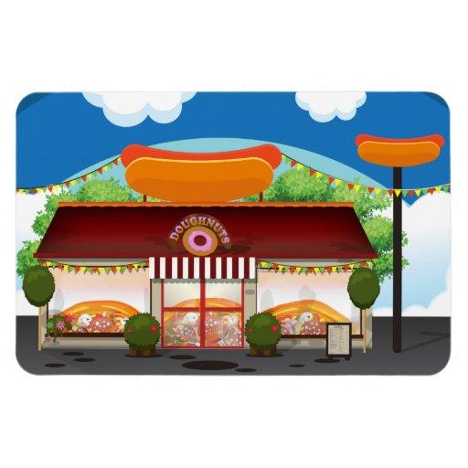 Fast Food Restaurant Cartoon Rectangular Magnet