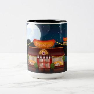 Fast Food Restaurant Cartoon Two-Tone Coffee Mug
