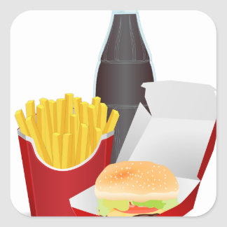 Fast Food Square Stickers