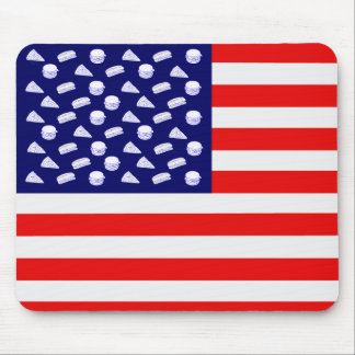 Fast Food USA Flag - Junk Food and Stripes Mouse Pad
