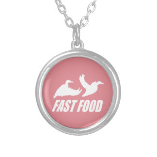 Fast food water fowl w round pendant necklace