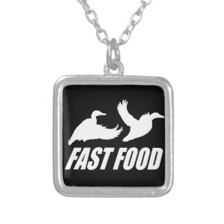 Fast food water fowl w square pendant necklace