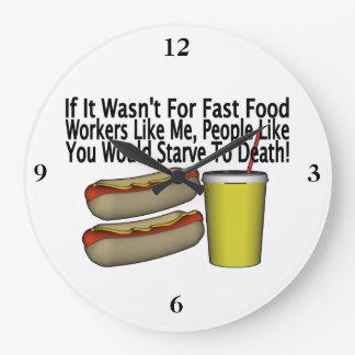 Fast Food Worker Large Clock