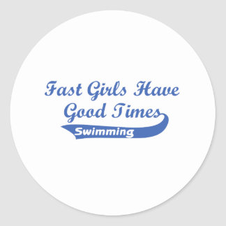 Fast Girls Have Good Times (Blue) Classic Round Sticker
